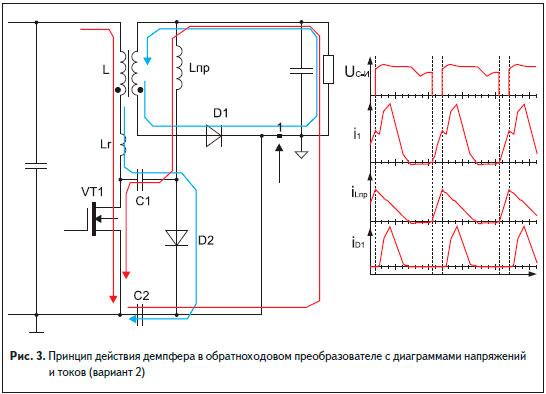 Принцип действия демпфера в обратноходовом преобразователе с диаграммами напряжений и токов (вариант 2)