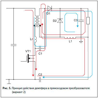 Принцип действия демпфера в прямоходовом преобразователе (вариант 2)